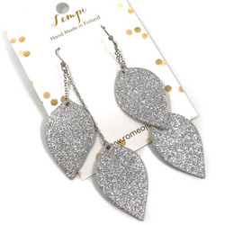 LEMPI-korvakorut, Lehdet (2-os, hopea glitter)