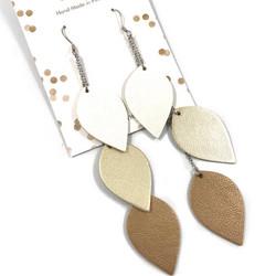 LEMPI-korvakorut, Lehdet (valkoinen-kulta-ruskea, 3-os)