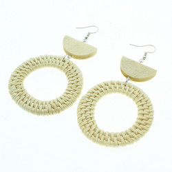 Puukorvakorut, rottinkikorvakorut/Round Rattan Earrings