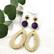 Rottinkikorvakorut/Teardrop Rattan Earrings with Purple Wooden Pearl