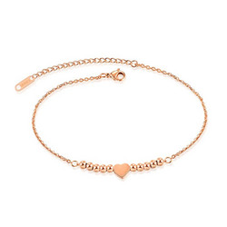 Nilkkakoru|HOLIDAY COLLECTION, Rosegold Anklet with Heart Decoration