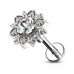 Rustokoru/traguskoru, Paved CZ Flower with Round CZ (Internally Threaded, kaksi pituutta)