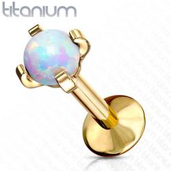 Rustokoru/traguskoru, Titanium Opal in Gold (kaksi pituutta)
