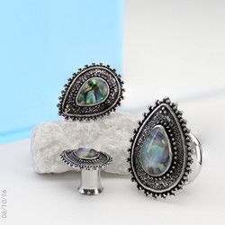 Plugi 8mm, Abalone Centered Tear Drop Top