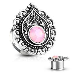 Plugi 6mm, Pink Teardrop Opalite