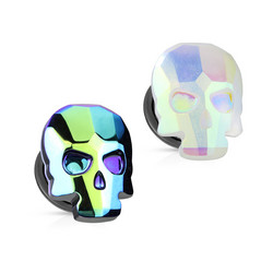Plugi 10mm, AB Skull in Blue