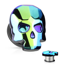 Plugi 12mm, AB Skull in Blue
