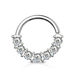 Lävistysrengas, 7 Gem Front Facing Hoop Ring 1,2mm/8mm