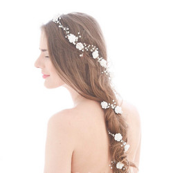 Hiuskoru, köynnös/ROMANCE, Long Headpiece with Roses