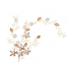 Hiuskoru, panta/ROMANCE, Romantic Flower Headpiece in Gold