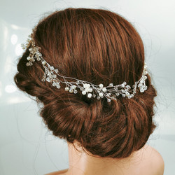 Hiuskoru, köynnös/ROMANCE, Delicate Long Headpiece with Pearls