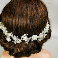 Hiuskoru, köynnös/ROMANCE, Long Headpiece with Pearl Flowers