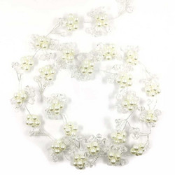 Hiuskoru, köynnös/ROMANCE, Long Headpiece with Pearl Flowers