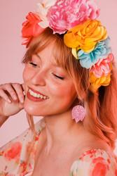 LEMPI-korvakorut, Tulppaani (liila, vaaleanpunainen glitter )