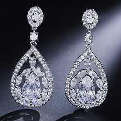 Juhlakorvakorut, ROMANCE/Gorgeous Teardrop Earrings with CZ