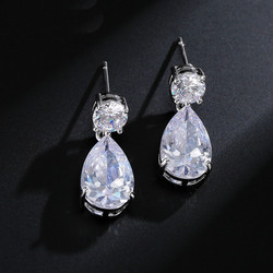 Juhlakorvakorut, ROMANCE/Simple Teardrop Earrings with CZ