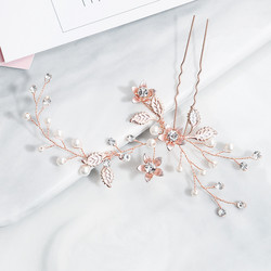 Hiuskoru, hiuskampa/ROMANCE, Rosegold Hairpiece with Pearls