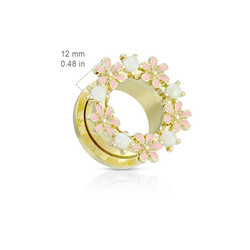 Tunneli 10mm, Enamel Flowers Gold