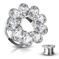 Plugi 10mm, Zircon Set Flower