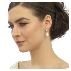 Kristallikorvakorut, ATHENA BRIDAL JEWELLERY|Precious Pearl (rosegold)