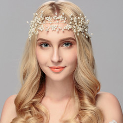 Hiuskoru, panta/ROMANCE, Delicate Pearl Headpiece with Flowers