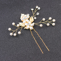 Hiuskoru, hiuskampa/ROMANCE, Beautiful Pearl Flowers in Gold