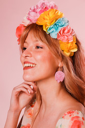 LEMPI-korvakorut, Tulppaani (vaaleanpunainen glitter,pinkimpi sävy)