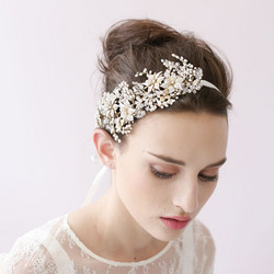 Hiuskoru, panta/ROMANCE, Glamorous Headpiece with Silver Flowers