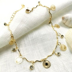 Nilkkakoru|HOLIDAY COLLECTION/Dangly Gold Anklet with Lace Decoration