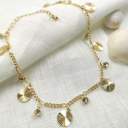 Nilkkakoru|HOLIDAY COLLECTION/Dangly Gold Anklet with Shiny Decoration