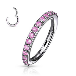 Lävistysrengas, High Quality Surgical Steel Hinged Rings with Pink CZ