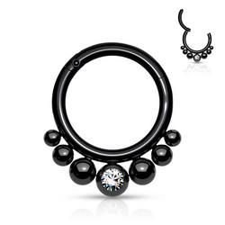 Lävistysrengas, Segment Clicker with Balls and Bezel Crystal Black