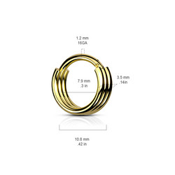 Lävistysrengas, 1,2mm Triple Layered Hoop Segment Clicker Ring in Gold
