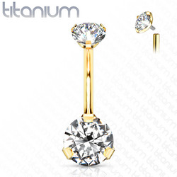 Napakoru,Titanium Prong Set Round CZ in Clear/Gold