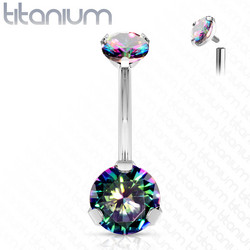 Napakoru,Titanium Prong Set Round CZ in Multicolor