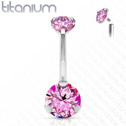 Napakoru,Titanium Prong Set Round CZ in Pink