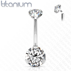 Napakoru,Titanium Prong Set Round CZ in Clear