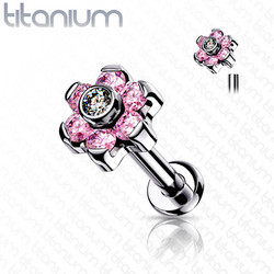 Rustokoru/traguskoru, Titanium CZ Set Flower Top in Pink