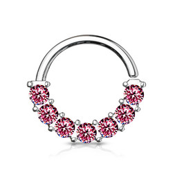 Lävistysrengas 1mm, 7 Gem Front Facing Hoop Ring in Pink