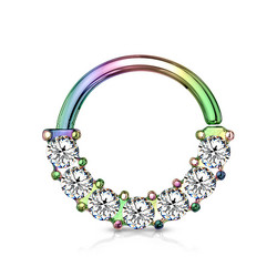 Lävistysrengas 1mm, 7 Gem Front Facing Multicolor Hoop Ring