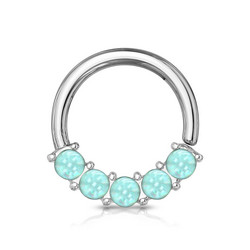 Lävistysrengas 1,2mm, Illuminating Front Facing Hoop Ring in L. Blue