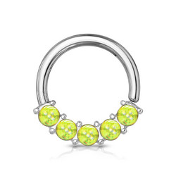 Lävistysrengas 1,2mm, Illuminating Front Facing Hoop Ring in L. Green
