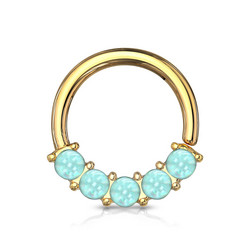 Lävistysrengas 1,2mm, Illuminating Front Facing Ring in L.Blue/Gold