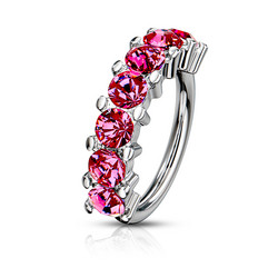 Lävistysrengas 1,2mm, 7 Gem Bendable Hoop Ring in Pink