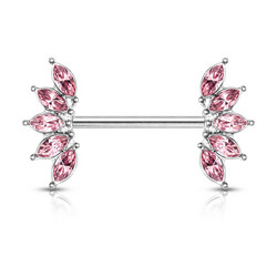 Nännikoru, 5 Marquise Crystals Fan Ends Nipple Barbell in Pink