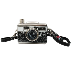 Taskumatti, House of Disaster|Black & White Camera Hip Flask
