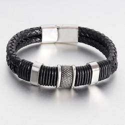 Nahkarannekoru, Classic Black Leather Bracelet