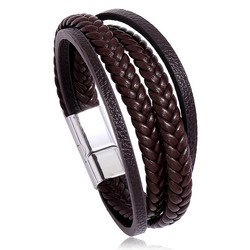 Keinonahkainen rannekoru, Multilayer Brown Faux Leather Bracelet