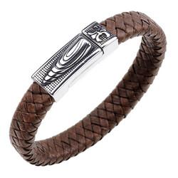 Keinonahkainen rannekoru, Brown Faux Leather Bracelet with Bullet