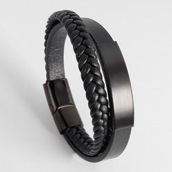 Keinonahkainen rannekoru, All Black Faux Leather Bracelet